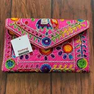 NWT Maatangi Pink Embroidered Envelope Clutch